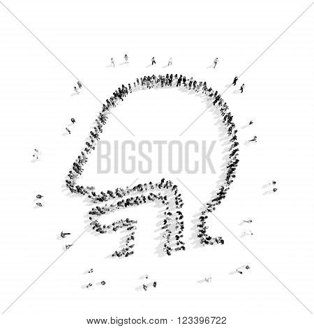 A group of people in the shape of a man's esophagus, a flash mob.3D illustration.black and white