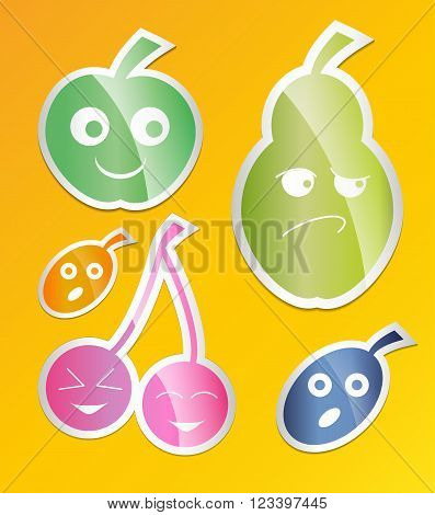 Berry icon set. Labels with berries apple pear plum apricot cherry Flat style. Vector illustration