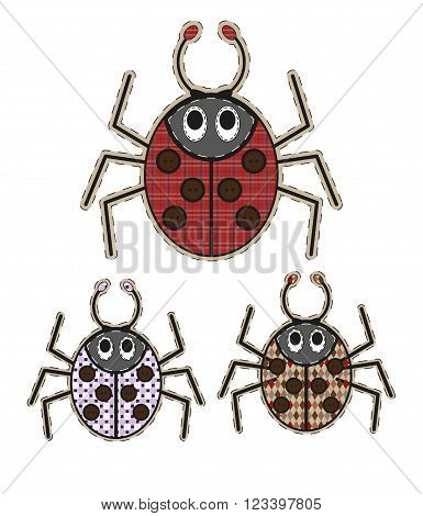 Cute cartoon spider in flat design for greeting card invitation and logo with fabric texture. Vector illustration