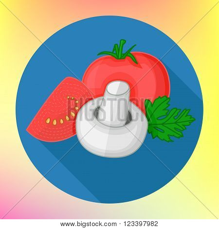 Food ingredients for pizza or pasta dishes. Fresh cherry tomatoes, mushrooms, parsley leaf. Tomatoes and champignon flat vector icon. Ripe mushroom champignon pictogram. Vegetarian ingredient.