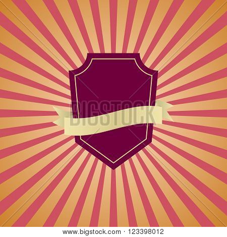 Retro vintage badge with pink sunrays background, stock vector