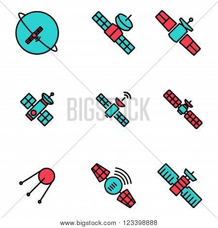 Vector line orbit satellite icons set on white background