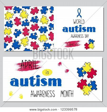 Vector set of horizontal banner templates. Hand drawn lettering for World Autism Awareness day. For poster, greeting cards, brochures, tags and labels, souvenirs, invitations, calendar designs.