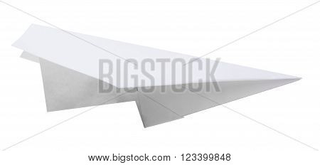 Paper plane isolated on white background, closeup