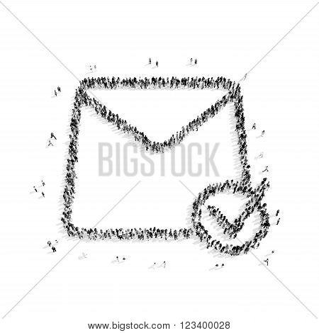 A group of people in the shape of a letter, e-mail, a flash mob.3D illustration.black and white