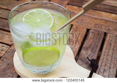 Close-up glass of lime infused water, stock photo