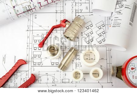 Architecture plan with water meter and mixer tap. Building concept