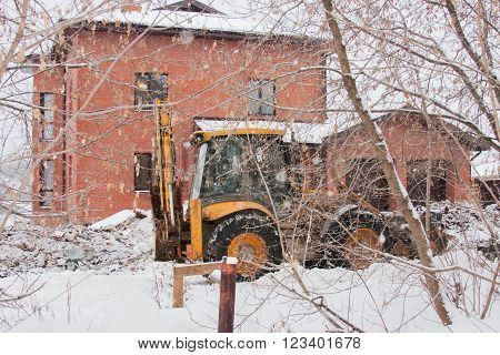 Perm, Russia, December 16.2015: Excavator Working On A Construction Site