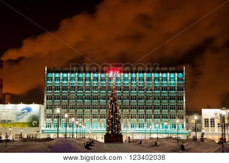 Perm, Russia JANUARY 172016: Open Society ' the Perm motors ' and a New Year's tree