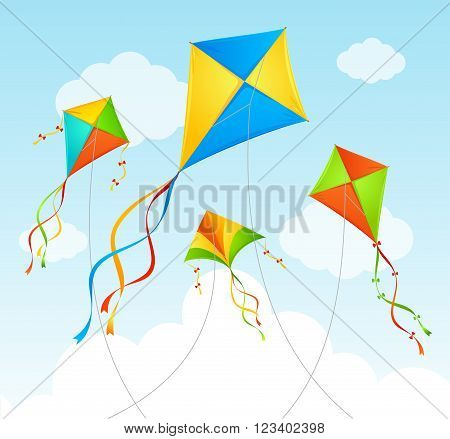 Fly Kite and Clouds on a Blue Sky. Summer Background. Vector illustration