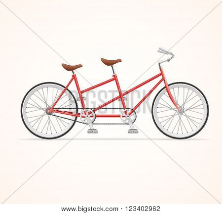 Red Vintage Tandem Bicycle on White Background. Vector illustration