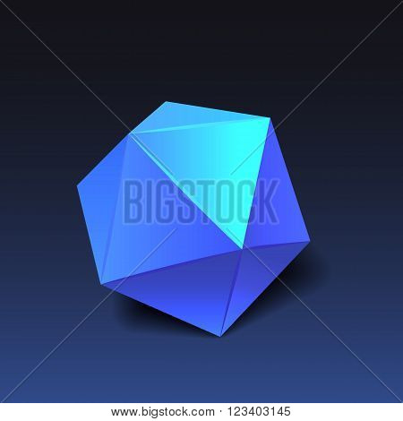 Blue icosahedron for graphic design. Vector EPS10