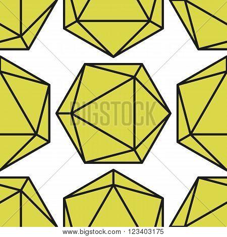 Icosahedron pattern, platonic solids, monochrome geometrical pattern