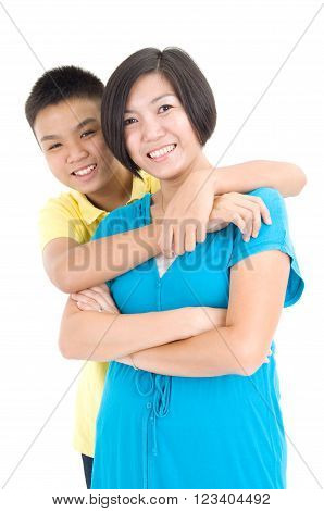 Happy Asian mother and her young son