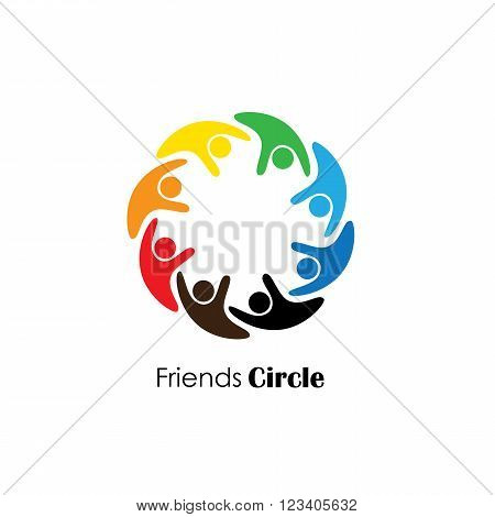 People Icons In Circle - Vector Concept Engagement, Togetherness