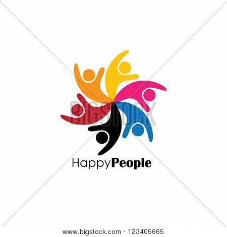 Vector Logo Icon Of Celebration Of People In Circle.