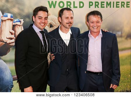 NEW YORK-JUN 24: (L-R) Associate Producer Joseph Micucci, actor Giovanni Ribisi and producer Jason Clark attend the 'Ted 2' world premiere at the Ziegfeld Theatre on June 24, 2015 in New York City.