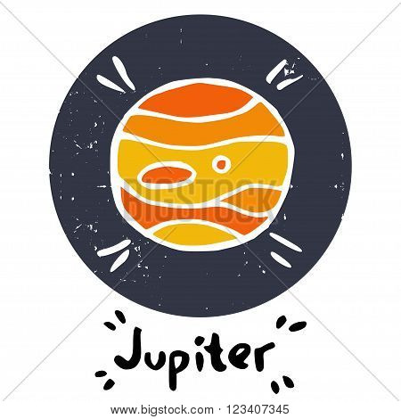Hand drawn doodle Solar system planet isolated on white background. Childish space icon and hand written Jupiter lettering.
