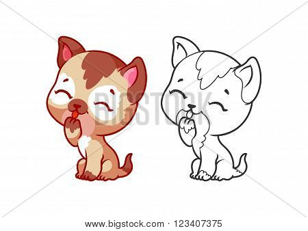 Cute little kitten. Cartoon vector character isolated on a white background with black outline.