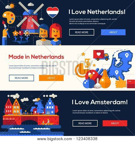 Welcome to Holand travel website flat design headers, banners set with famous Dutch symbols