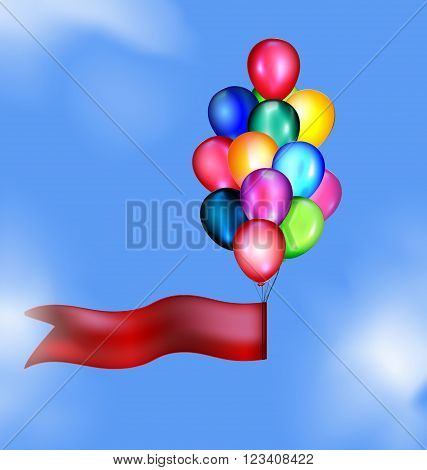 blue sky, clouds and multicolored flying balloons with red tape