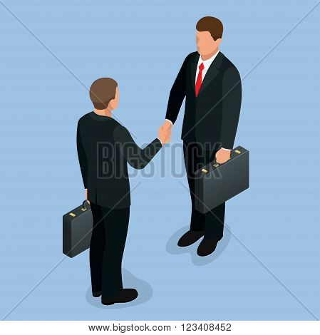 Businnes handshake concept. Handshake in flat style. Business deal handshake isometric vector  illustration. Mens shaking hands