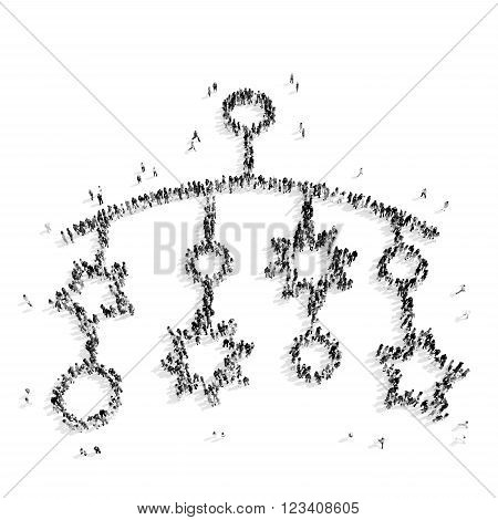 A group of people in the shape of children's rattle, a flash mob.3D illustration.black and white