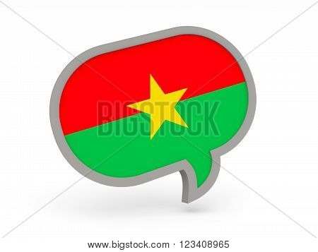 Chat Icon With Flag Of Burkina Faso