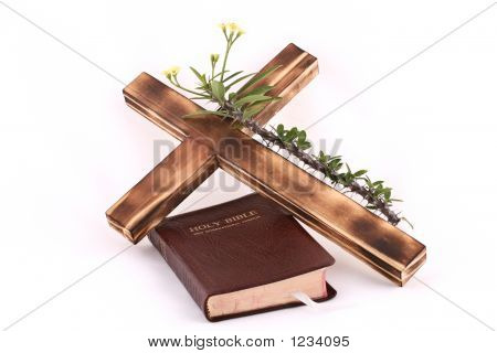 Cross And Bible On White
