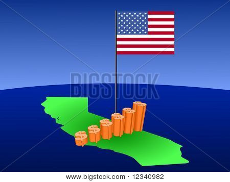 dollar graph on California map with flag illustration JPEG