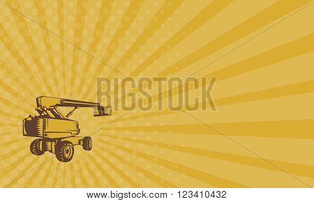 Business card showing illustration of a cherry picker mobile lift platform viewed from rear side set on isolated white background done in retro woodcut style.