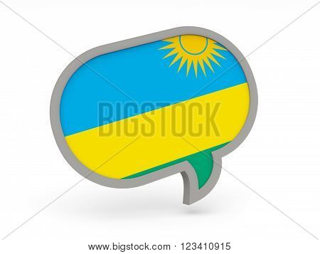 Chat Icon With Flag Of Rwanda