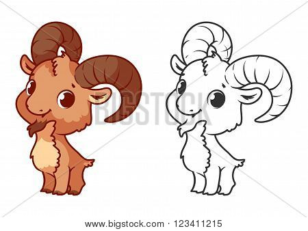 Cute little ibex. Cartoon vector character isolated on a white background with black outline.