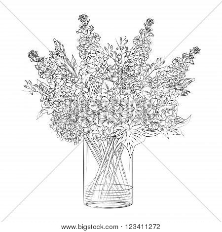 Vector hand drawn flower arrangement in transparent vase
