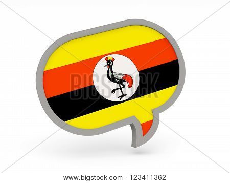 Chat Icon With Flag Of Uganda