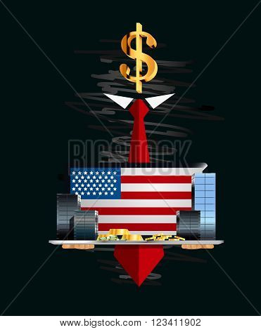 Monetary stocks and skyscrapers on the laptop in hands of the secret person. Business illustration