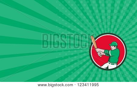 Business card showing illustration of an american baseball player batter holding bat batting swinging bat viewed from the side set inside circle on isolated background done in cartoon style.