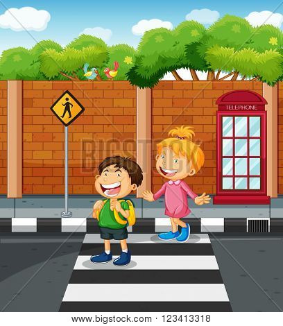 Two kids crossing the  street illustration