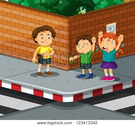 Children being robbed  by gangster illustration