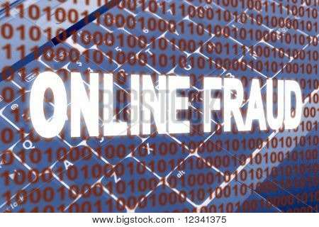 glowing Online Fraud text over binary text and keyboard