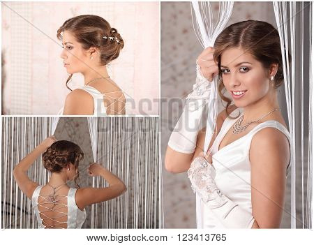 Young Bride With Wedding Tiara On Wooden Background Modern Bridal Style
