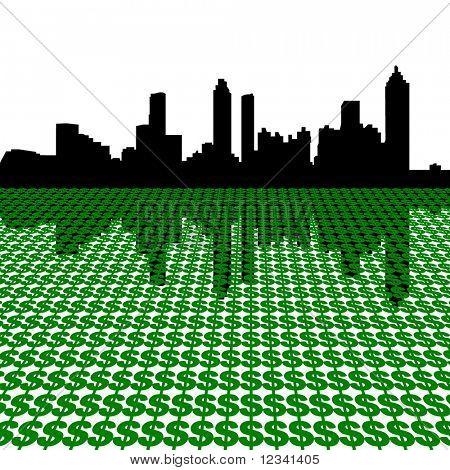 Atlanta Skyline with dollars illustration