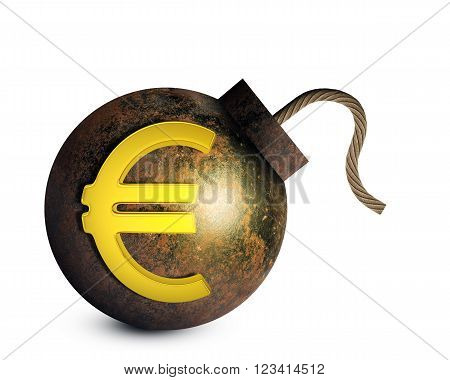 Bomb with ignited fuse and euro sign isolated on white background. 3D rendering
