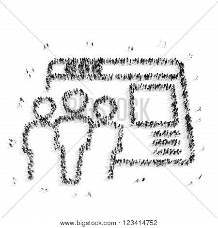 A group of people in the shape of a credit card, a flash mob.3D illustration.black and white