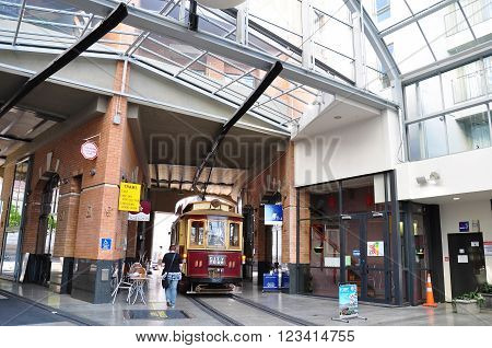 CHRISTCHURCH - DEC 04 2015:Christchurch Tramway tram system.The tramway operate since 1882 and become one of the symbols of Christchurch and a popular attraction for tourists and locals alike.