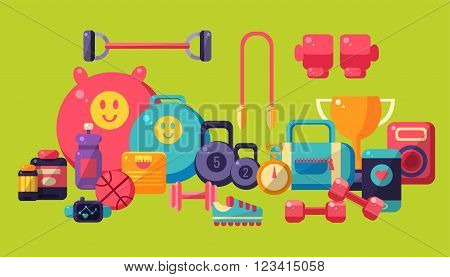 Sports And Fitness Equipment Collection Lined Horisontally Flat Vector Ilustration On Yellow Background
