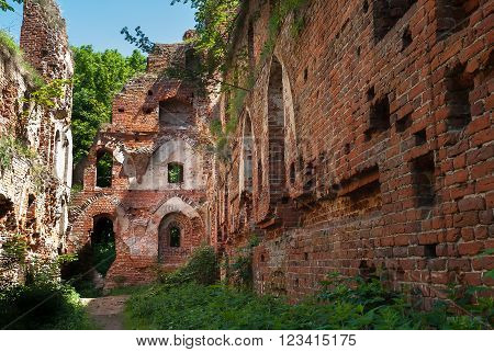 Balga - ruins of medieval castle of the Teutonic knights. Kaliningrad region, Russia