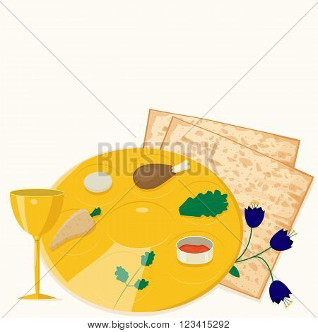 Vector illustration of passover seder plate with matzoh and wine.
