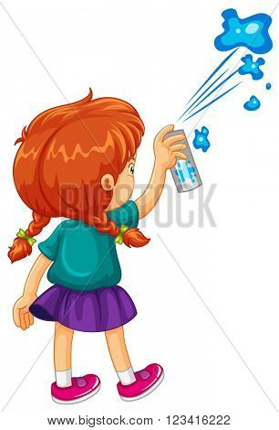 Girl spraying the wall blue illustration