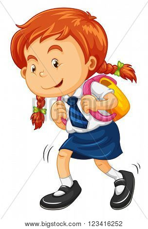 Girl with schoolbag walking illustration